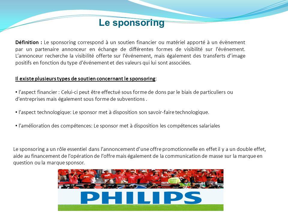 Il existe plusieurs types de soutien concernant le sponsoring: laspect financier : Celui-ci peut être effectué sous forme de dons par le biais de part