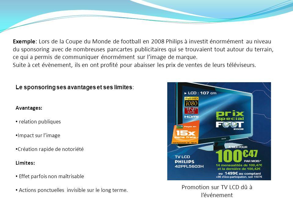 Exemple: Lors de la Coupe du Monde de football en 2008 Philips à investit énormément au niveau du sponsoring avec de nombreuses pancartes publicitaire