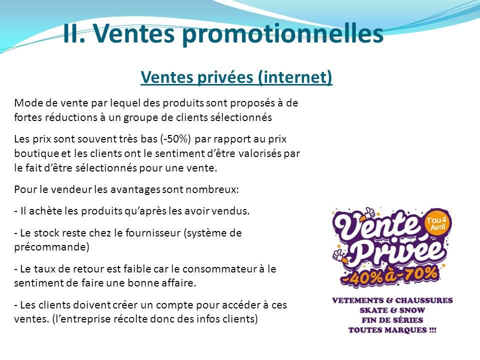 II. Ventes promotionnelles Ventes privées (internet) Mode de vente par lequel des produits sont proposés à de fortes réductions à un groupe de clients