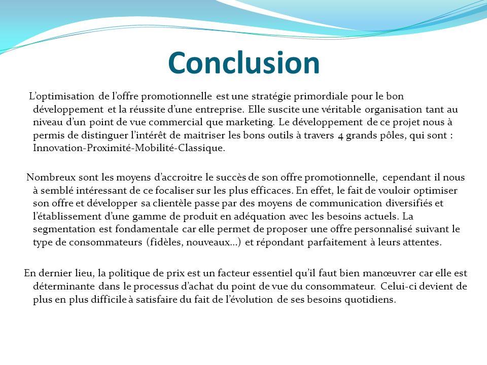 Conclusion Loptimisation de loffre promotionnelle est une stratégie primordiale pour le bon développement et la réussite dune entreprise. Elle suscite