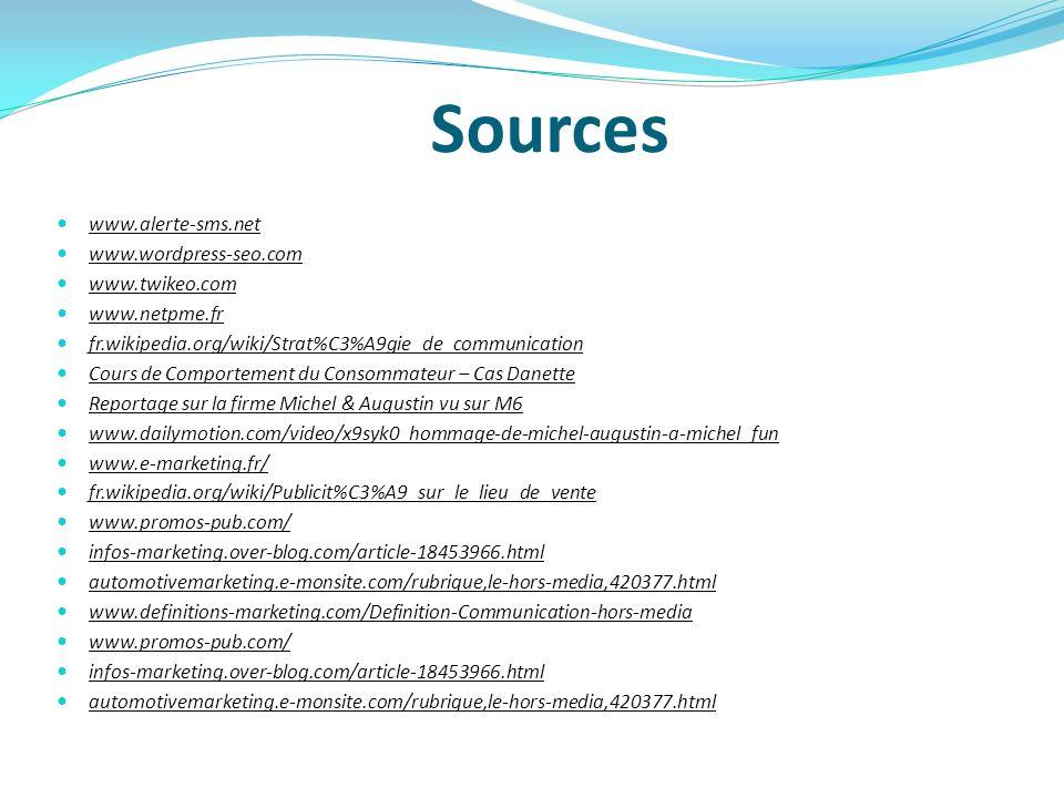 Sources www.alerte-sms.net www.wordpress-seo.com www.twikeo.com www.netpme.fr fr.wikipedia.org/wiki/Strat%C3%A9gie_de_communication Cours de Comportem