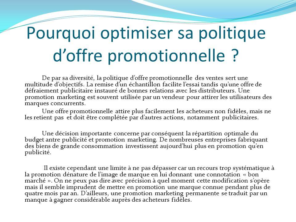 Pourquoi optimiser sa politique doffre promotionnelle ? De par sa diversité, la politique doffre promotionnelle des ventes sert une multitude dobjecti