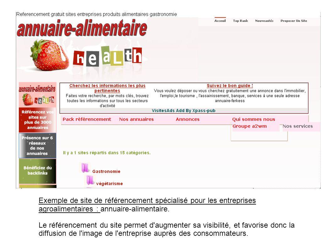 Exemple de site de référencement spécialisé pour les entreprises agroalimentaires : annuaire-alimentaire. Le référencement du site permet d'augmenter