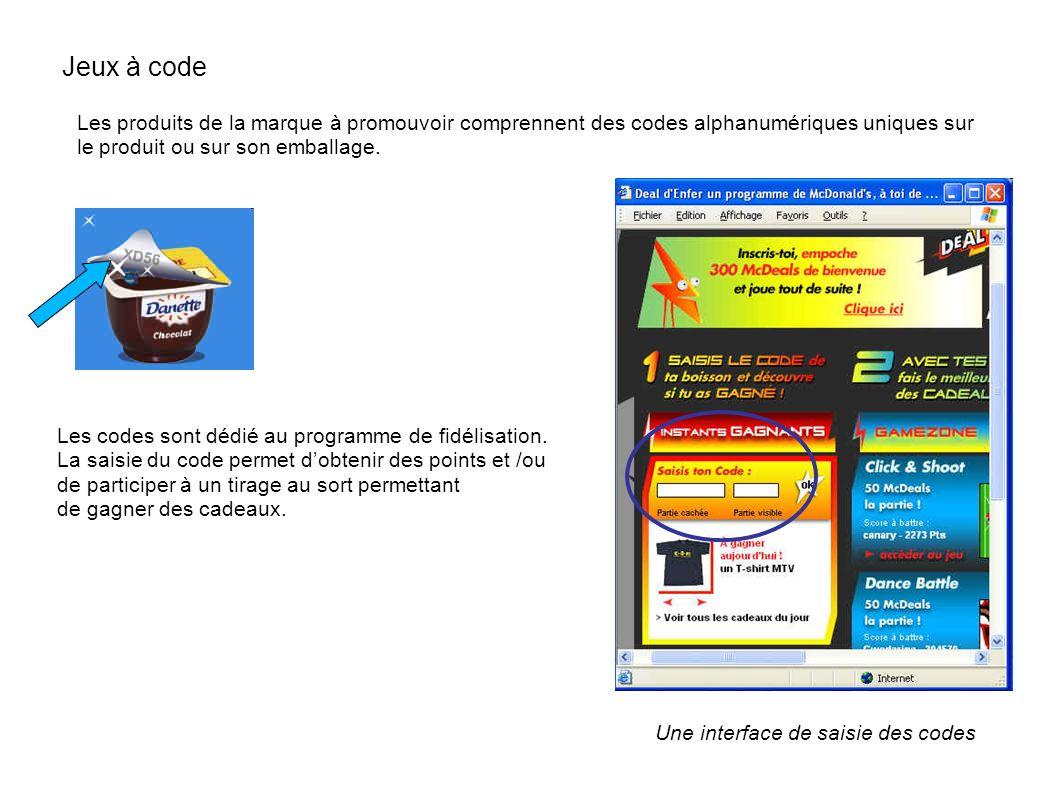 Jeux à code Les produits de la marque à promouvoir comprennent des codes alphanumériques uniques sur le produit ou sur son emballage. Une interface de