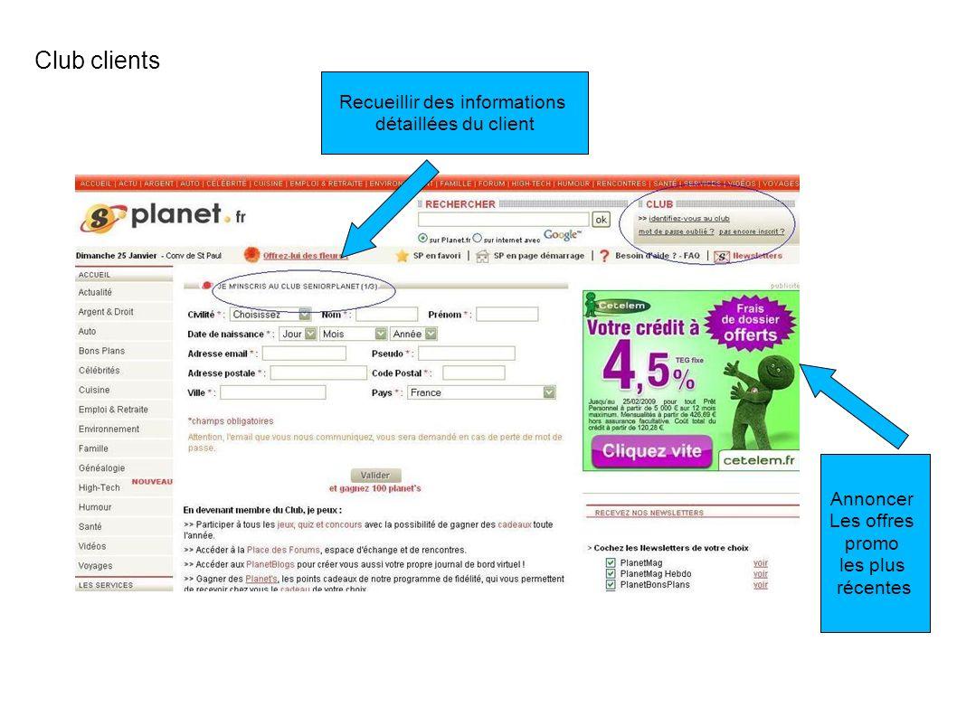 Club clients Recueillir des informations détaillées du client Annoncer Les offres promo les plus récentes
