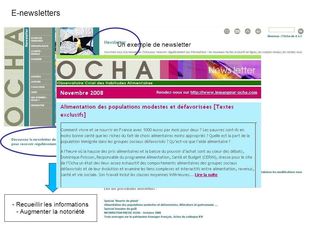 E-newsletters - Recueillir les informations - Augmenter la notoriété Un exemple de newsletter