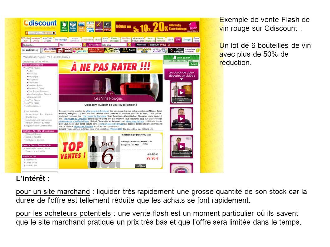 Exemple de vente Flash de vin rouge sur Cdiscount : Un lot de 6 bouteilles de vin avec plus de 50% de réduction. Lintérêt : pour un site marchand : li