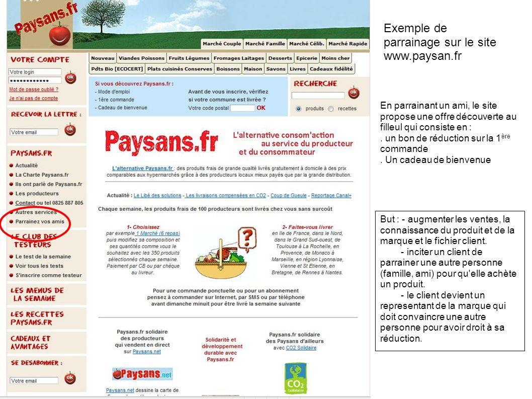 Exemple de parrainage sur le site www.paysan.fr En parrainant un ami, le site propose une offre découverte au filleul qui consiste en :. un bon de réd