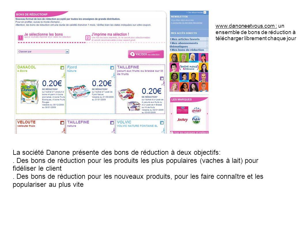 www.danoneetvous.com : un ensemble de bons de réduction à télécharger librement chaque jour La société Danone présente des bons de réduction à deux ob