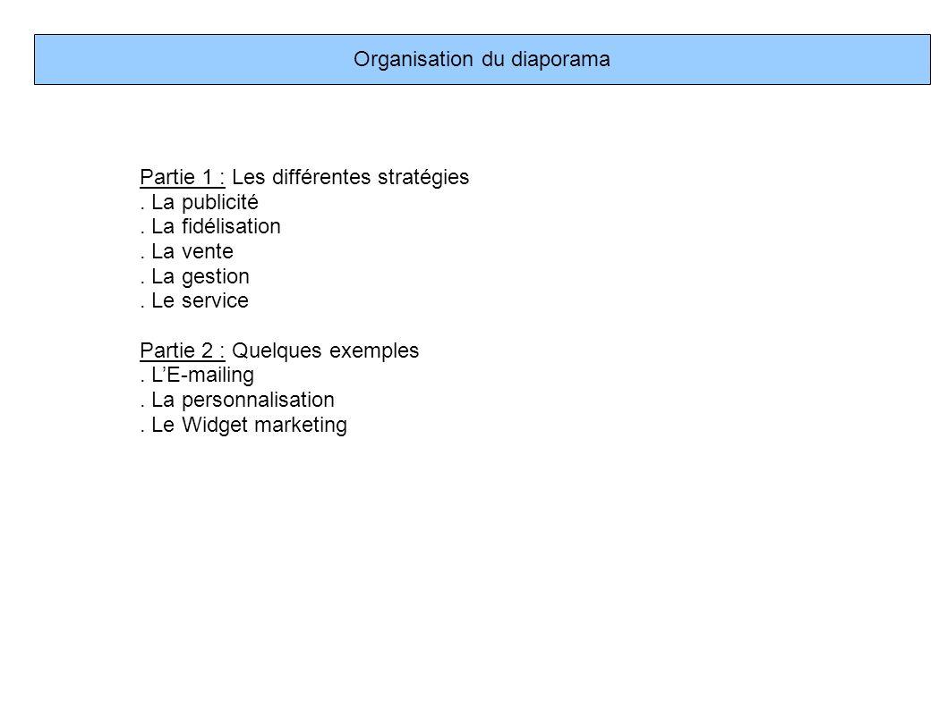 Organisation du diaporama Partie 1 : Les différentes stratégies. La publicité. La fidélisation. La vente. La gestion. Le service Partie 2 : Quelques e