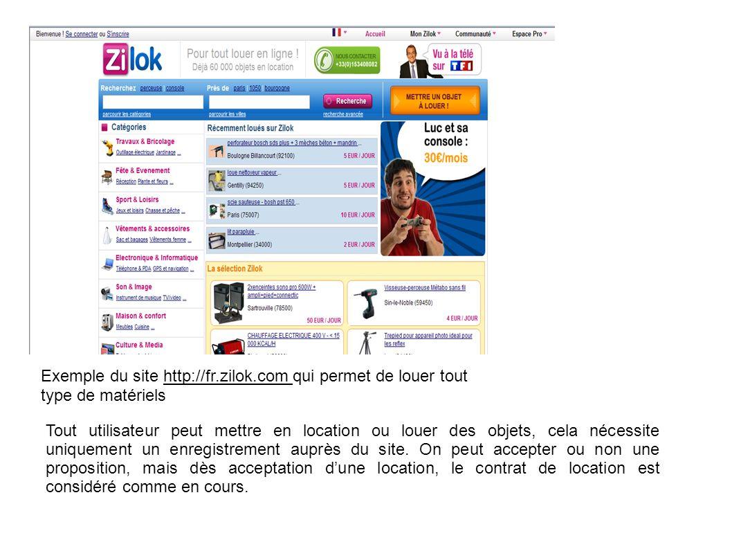 Exemple du site http://fr.zilok.com qui permet de louer tout type de matériels Tout utilisateur peut mettre en location ou louer des objets, cela néce