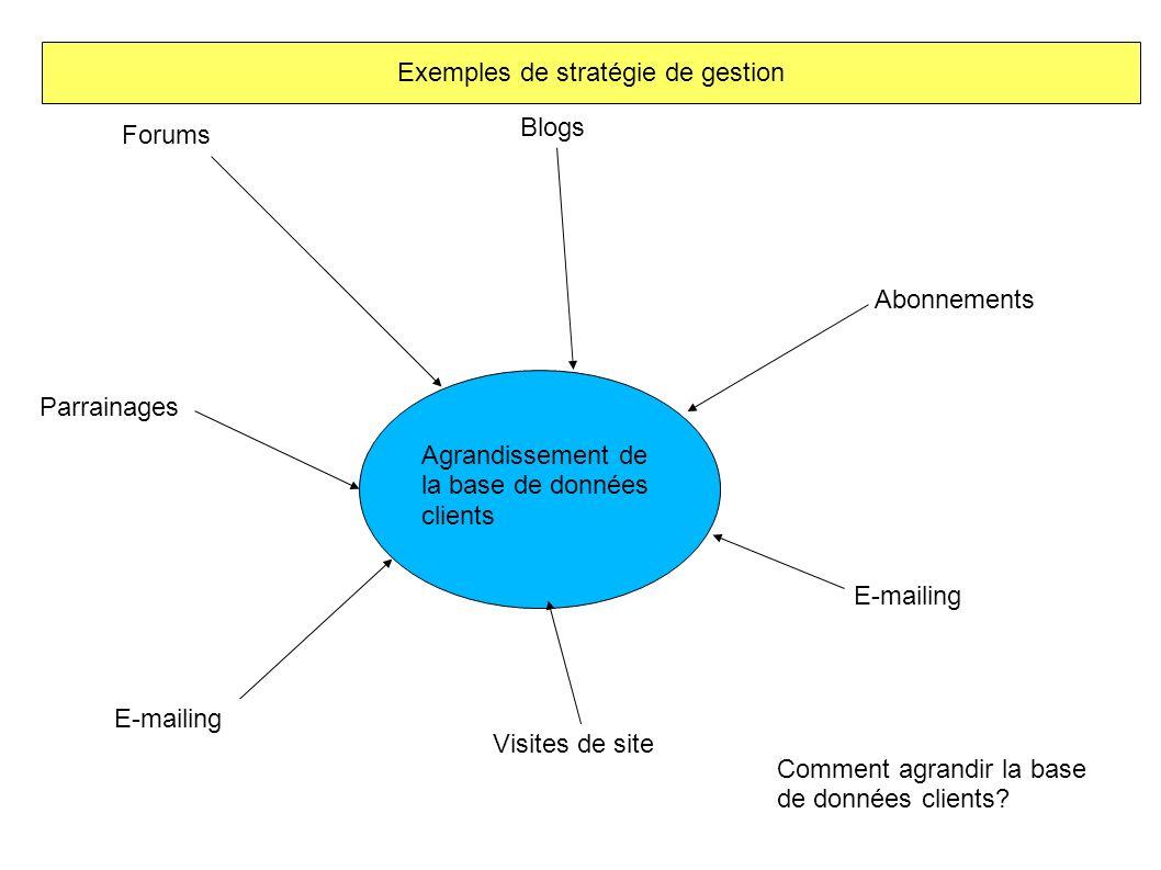 Agrandissement de la base de données clients Forums Blogs Abonnements Parrainages E-mailing Visites de site E-mailing Exemples de stratégie de gestion