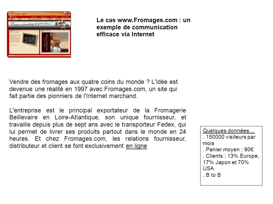 Le cas www.Fromages.com : un exemple de communication efficace via Internet Vendre des fromages aux quatre coins du monde ? L'idée est devenue une réa