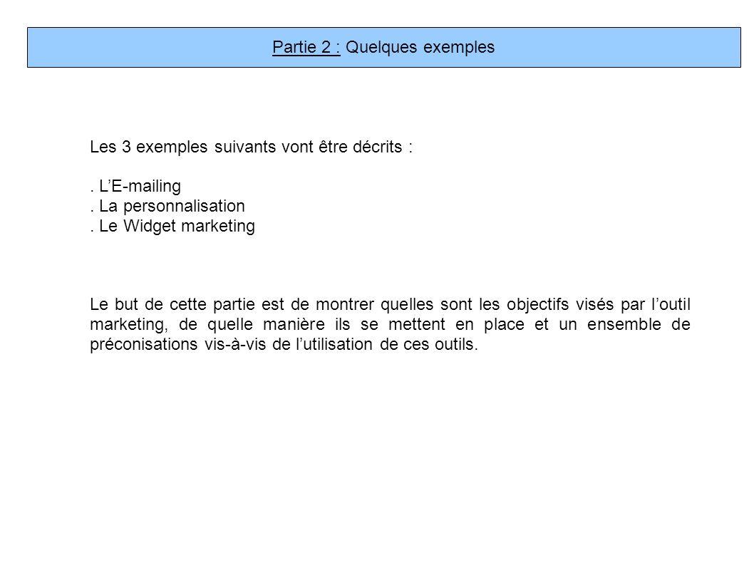 Partie 2 : Quelques exemples Les 3 exemples suivants vont être décrits :. LE-mailing. La personnalisation. Le Widget marketing Le but de cette partie