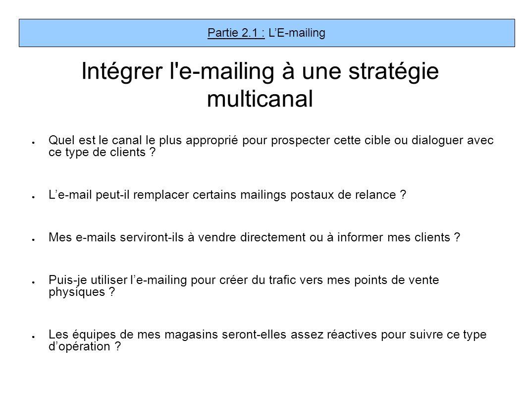 Intégrer l'e-mailing à une stratégie multicanal Quel est le canal le plus approprié pour prospecter cette cible ou dialoguer avec ce type de clients ?