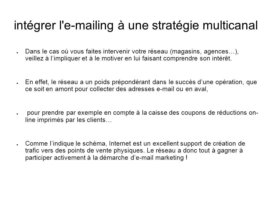 intégrer l'e-mailing à une stratégie multicanal Dans le cas où vous faites intervenir votre réseau (magasins, agences…), veillez à limpliquer et à le