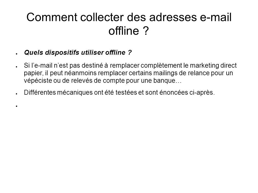 Comment collecter des adresses e-mail offline ? Quels dispositifs utiliser offline ? Si le-mail nest pas destiné à remplacer complètement le marketing
