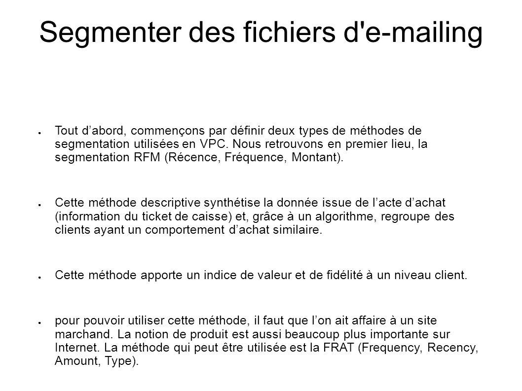 Segmenter des fichiers d'e-mailing Tout dabord, commençons par définir deux types de méthodes de segmentation utilisées en VPC. Nous retrouvons en pre