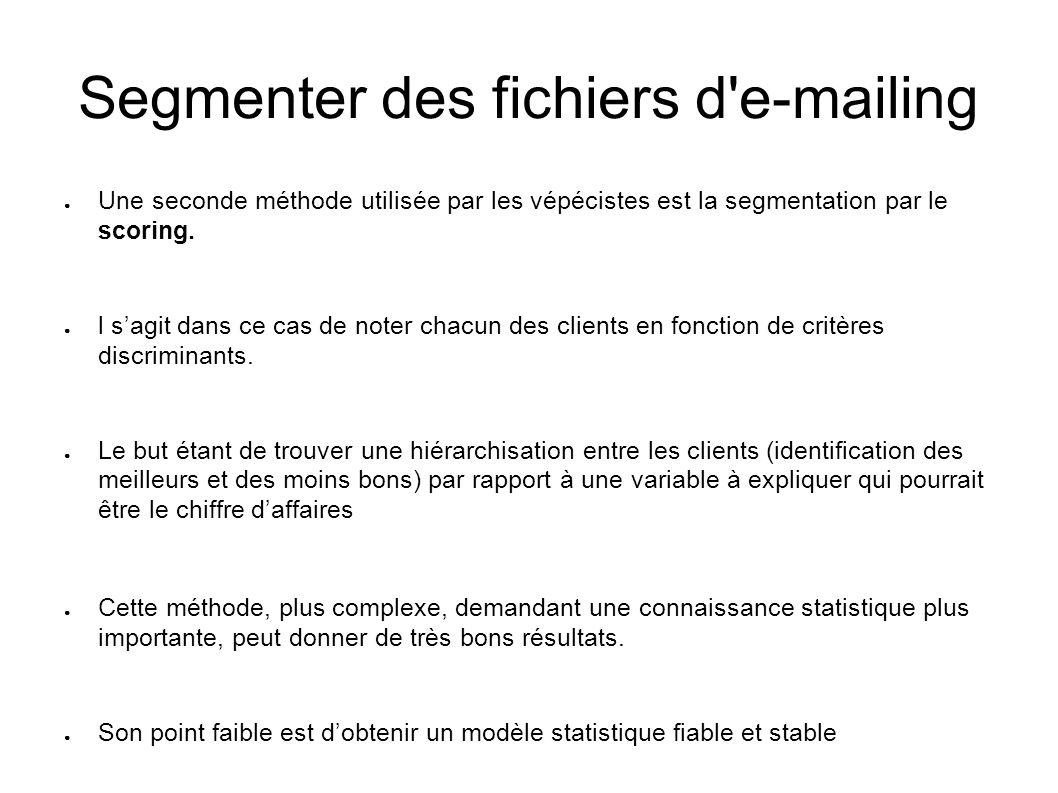 Segmenter des fichiers d'e-mailing Une seconde méthode utilisée par les vépécistes est la segmentation par le scoring. l sagit dans ce cas de noter ch