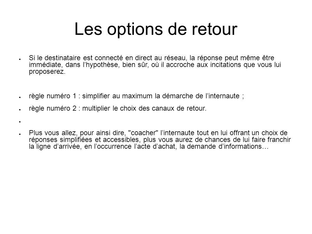 Les options de retour Si le destinataire est connecté en direct au réseau, la réponse peut même être immédiate, dans lhypothèse, bien sûr, où il accro