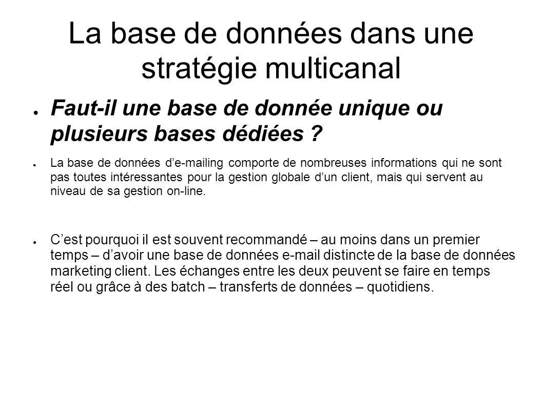 La base de données dans une stratégie multicanal Faut-il une base de donnée unique ou plusieurs bases dédiées ? La base de données de-mailing comporte