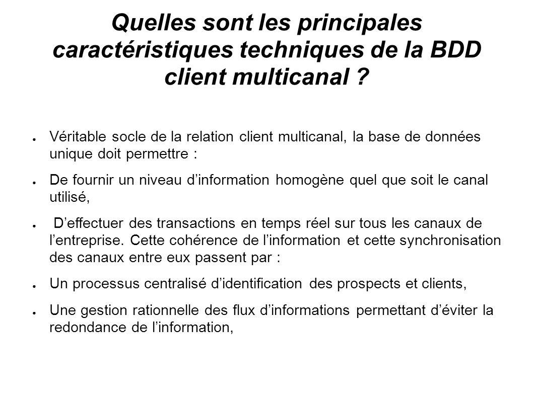 Quelles sont les principales caractéristiques techniques de la BDD client multicanal ? Véritable socle de la relation client multicanal, la base de do