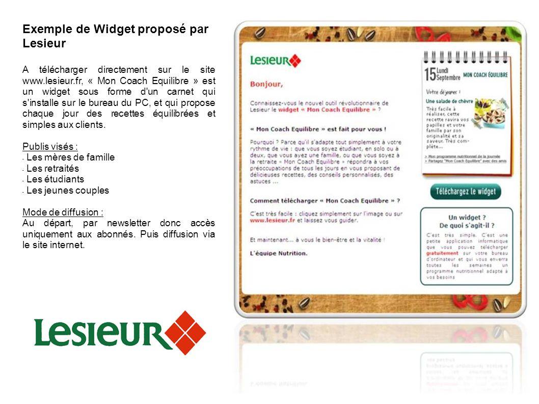 Widget Marketing Exemple de Widget proposé par Lesieur A télécharger directement sur le site www.lesieur.fr, « Mon Coach Equilibre » est un widget sou