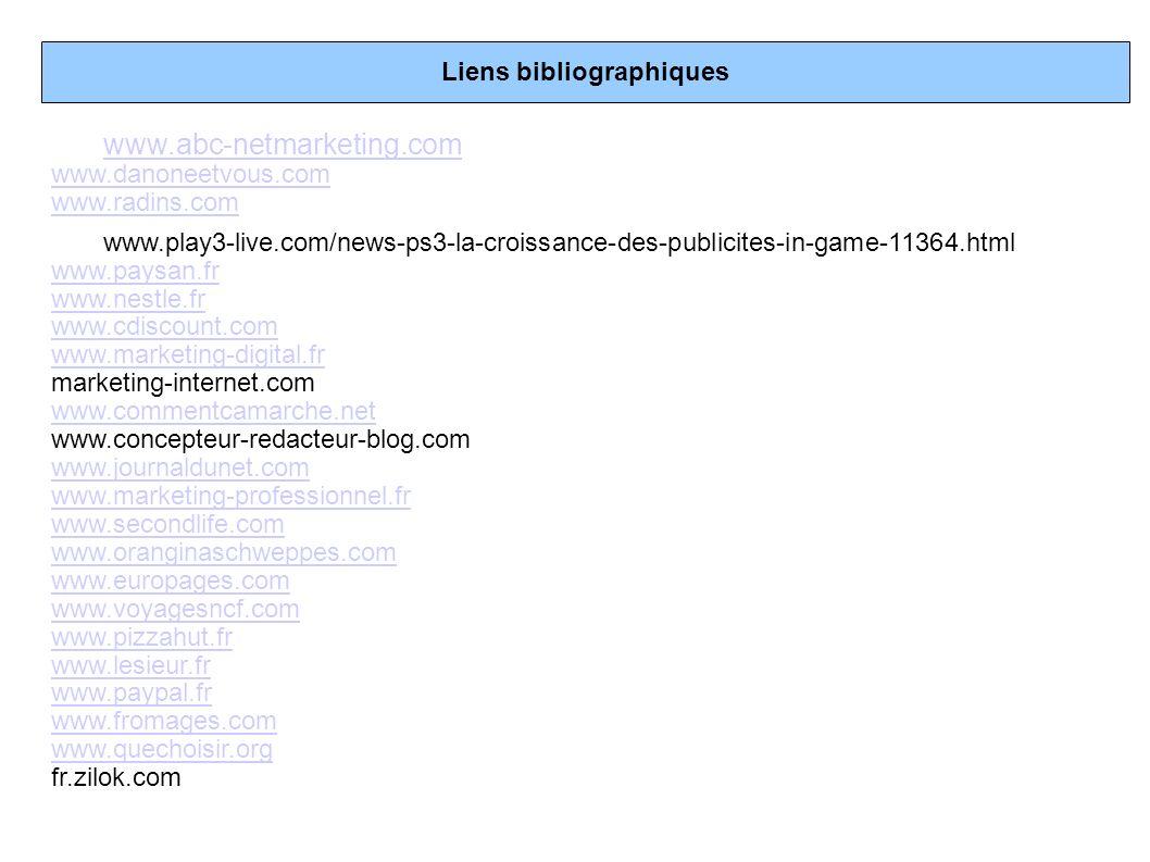 Liens bibliographiques www.abc-netmarketing.com www.danoneetvous.com www.radins.com www.play3-live.com/news-ps3-la-croissance-des-publicites-in-game-1