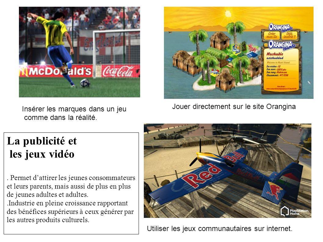 Jouer directement sur le site Orangina Insérer les marques dans un jeu comme dans la réalité. Utiliser les jeux communautaires sur internet. La public