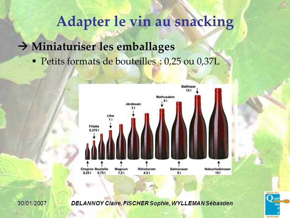 30/01/2007DELANNOY Claire, FISCHER Sophie, WYLLEMAN Sébastien Adapter le vin au snacking Miniaturiser les emballages Petits formats de bouteilles : 0,