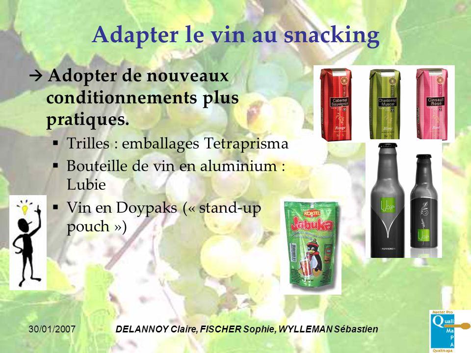 30/01/2007DELANNOY Claire, FISCHER Sophie, WYLLEMAN Sébastien Adapter le vin au snacking Adopter de nouveaux conditionnements plus pratiques. Trilles