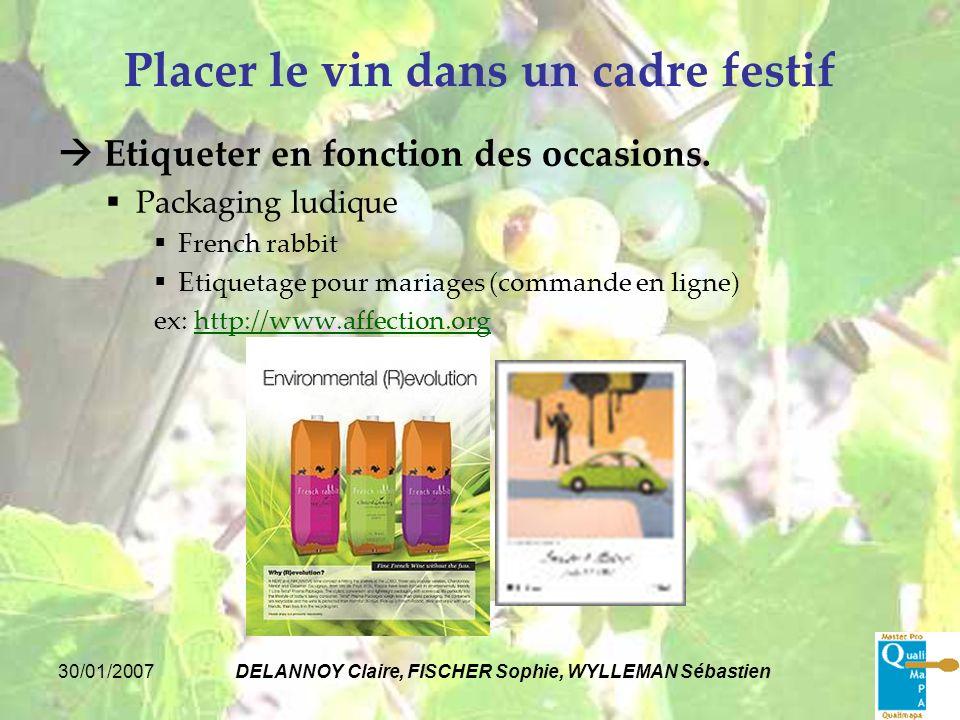 30/01/2007DELANNOY Claire, FISCHER Sophie, WYLLEMAN Sébastien Placer le vin dans un cadre festif Etiqueter en fonction des occasions. Packaging ludiqu