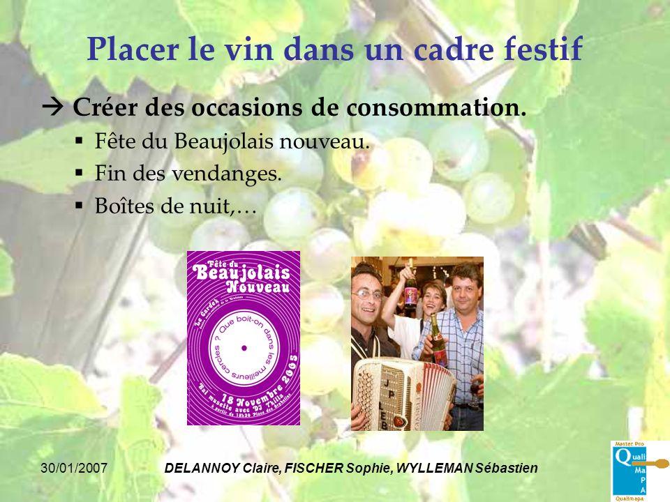 30/01/2007DELANNOY Claire, FISCHER Sophie, WYLLEMAN Sébastien Placer le vin dans un cadre festif Créer des occasions de consommation. Fête du Beaujola