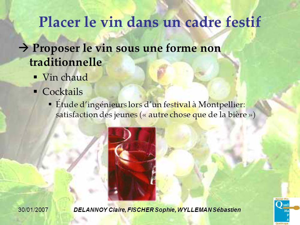 30/01/2007DELANNOY Claire, FISCHER Sophie, WYLLEMAN Sébastien Placer le vin dans un cadre festif Proposer le vin sous une forme non traditionnelle Vin