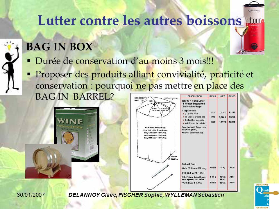 30/01/2007DELANNOY Claire, FISCHER Sophie, WYLLEMAN Sébastien Lutter contre les autres boissons BAG IN BOX Durée de conservation dau moins 3 mois!!! P