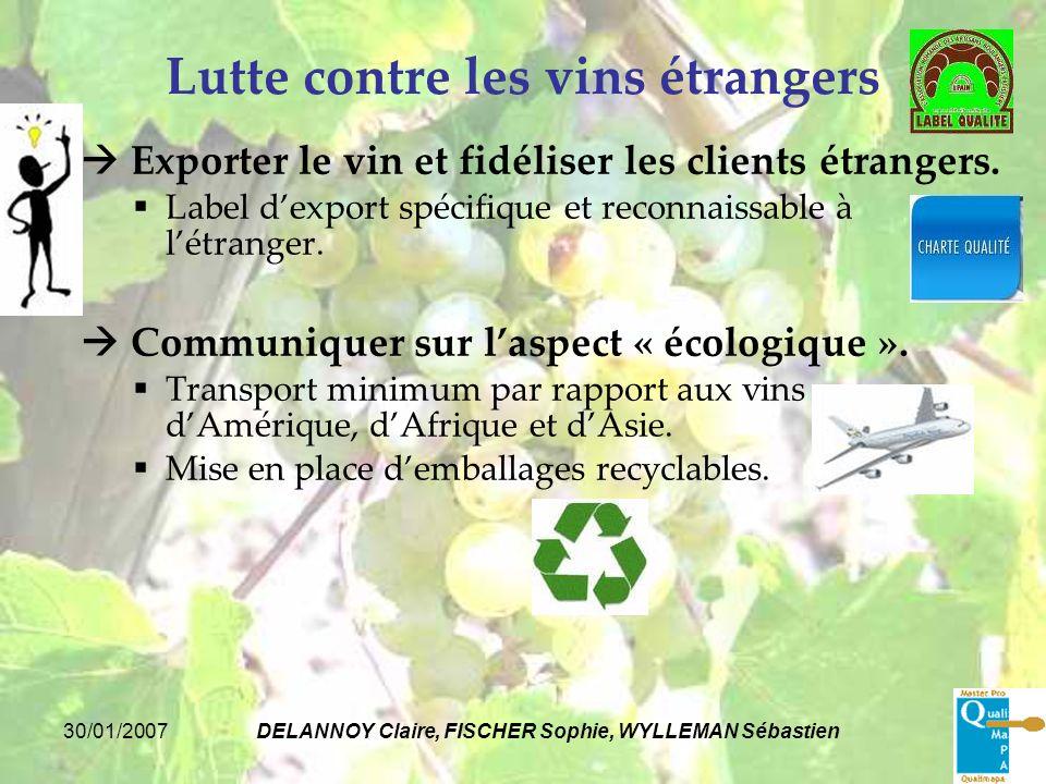 30/01/2007DELANNOY Claire, FISCHER Sophie, WYLLEMAN Sébastien Lutte contre les vins étrangers Exporter le vin et fidéliser les clients étrangers. Labe