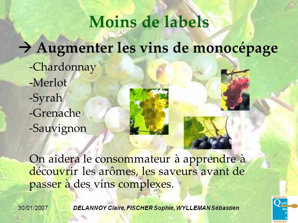30/01/2007DELANNOY Claire, FISCHER Sophie, WYLLEMAN Sébastien Moins de labels Augmenter les vins de monocépage -Chardonnay -Merlot -Syrah -Grenache -S