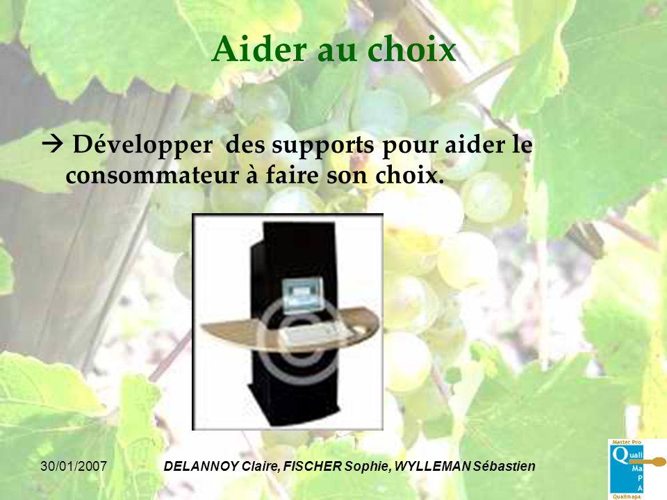 30/01/2007DELANNOY Claire, FISCHER Sophie, WYLLEMAN Sébastien Aider au choix Développer des supports pour aider le consommateur à faire son choix.