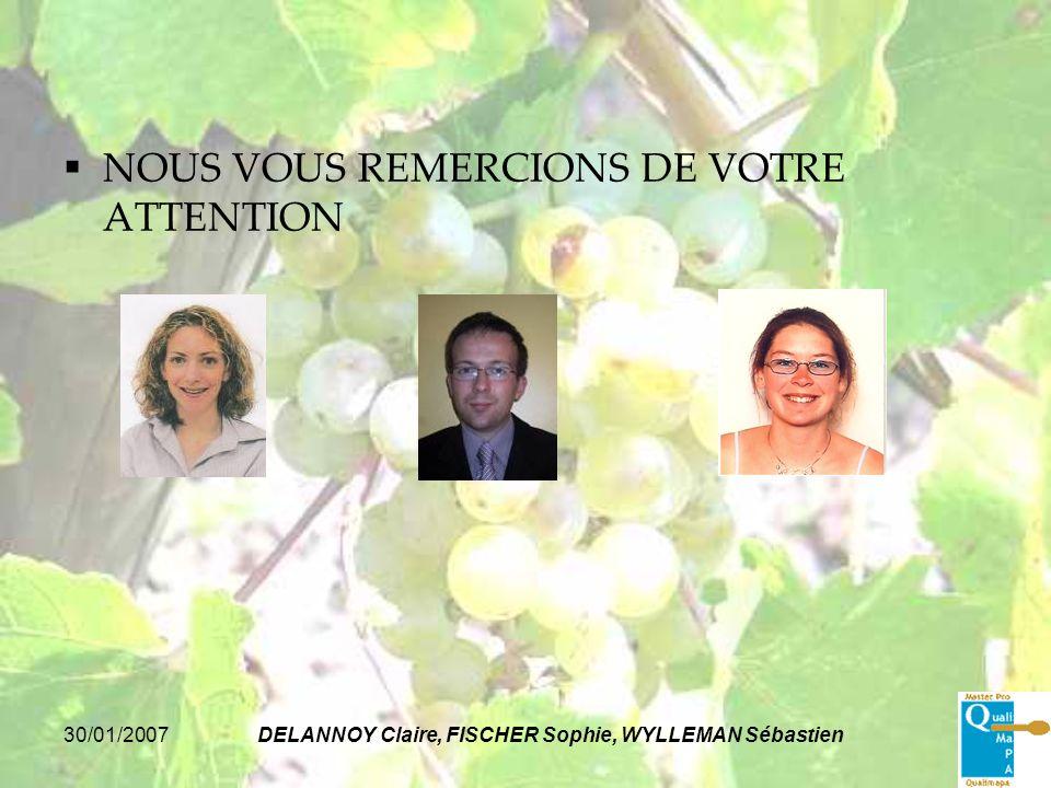 30/01/2007DELANNOY Claire, FISCHER Sophie, WYLLEMAN Sébastien NOUS VOUS REMERCIONS DE VOTRE ATTENTION