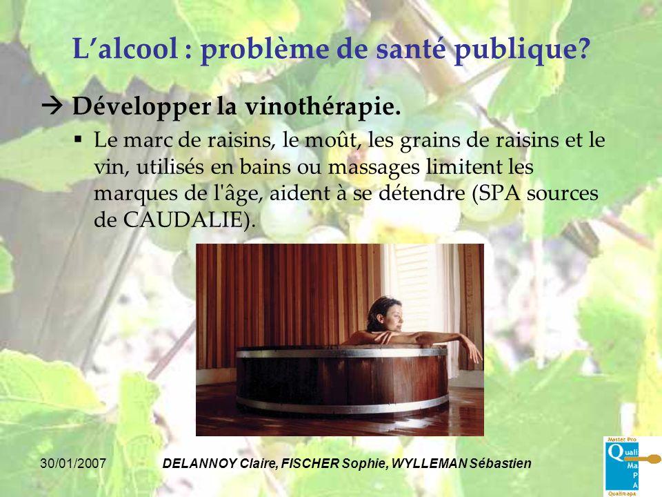 30/01/2007DELANNOY Claire, FISCHER Sophie, WYLLEMAN Sébastien Lalcool : problème de santé publique? Développer la vinothérapie. Le marc de raisins, le