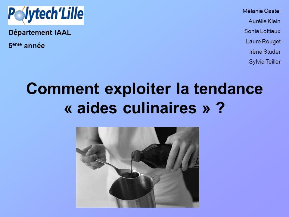 Comment exploiter la tendance « aides culinaires » ? Département IAAL 5 éme année Mélanie Castel Aurélie Klein Sonia Lottiaux Laure Rouget Irène Stude