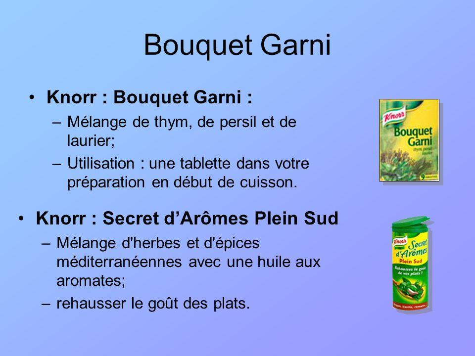 Bouquet Garni Knorr : Bouquet Garni : –Mélange de thym, de persil et de laurier; –Utilisation : une tablette dans votre préparation en début de cuisso
