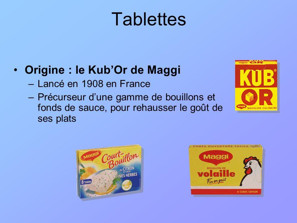 Knorr : Court-bouillon –Note parfumée pour la chair des poissons et crustacés; –Deux variétés : en sachet avec légumes émincés; en tablettes avec vin blanc et fines herbes.