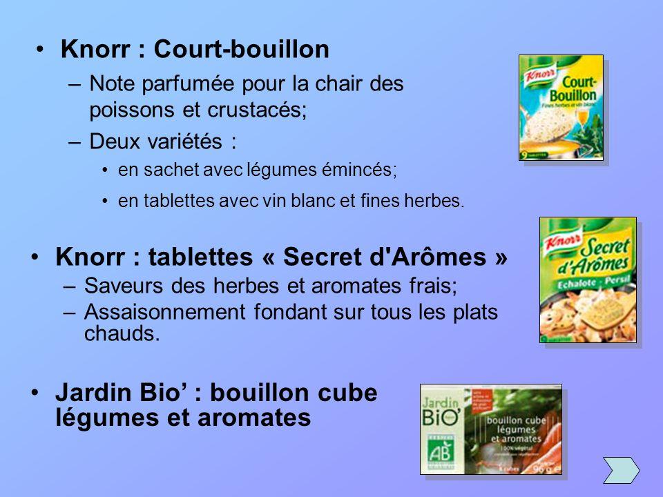 Knorr : Court-bouillon –Note parfumée pour la chair des poissons et crustacés; –Deux variétés : en sachet avec légumes émincés; en tablettes avec vin