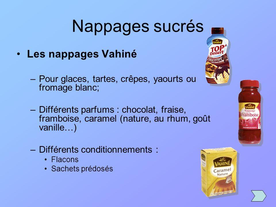 Nappages sucrés Les nappages Vahiné –Pour glaces, tartes, crêpes, yaourts ou fromage blanc; –Différents parfums : chocolat, fraise, framboise, caramel