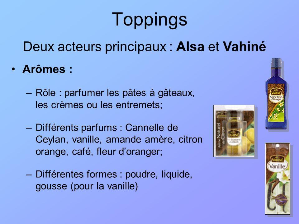 Toppings Arômes : –Rôle : parfumer les pâtes à gâteaux, les crèmes ou les entremets; –Différents parfums : Cannelle de Ceylan, vanille, amande amère,