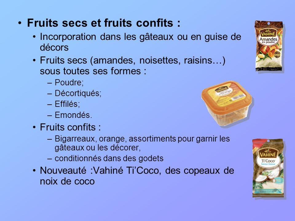 Fruits secs et fruits confits : Incorporation dans les gâteaux ou en guise de décors Fruits secs (amandes, noisettes, raisins…) sous toutes ses formes
