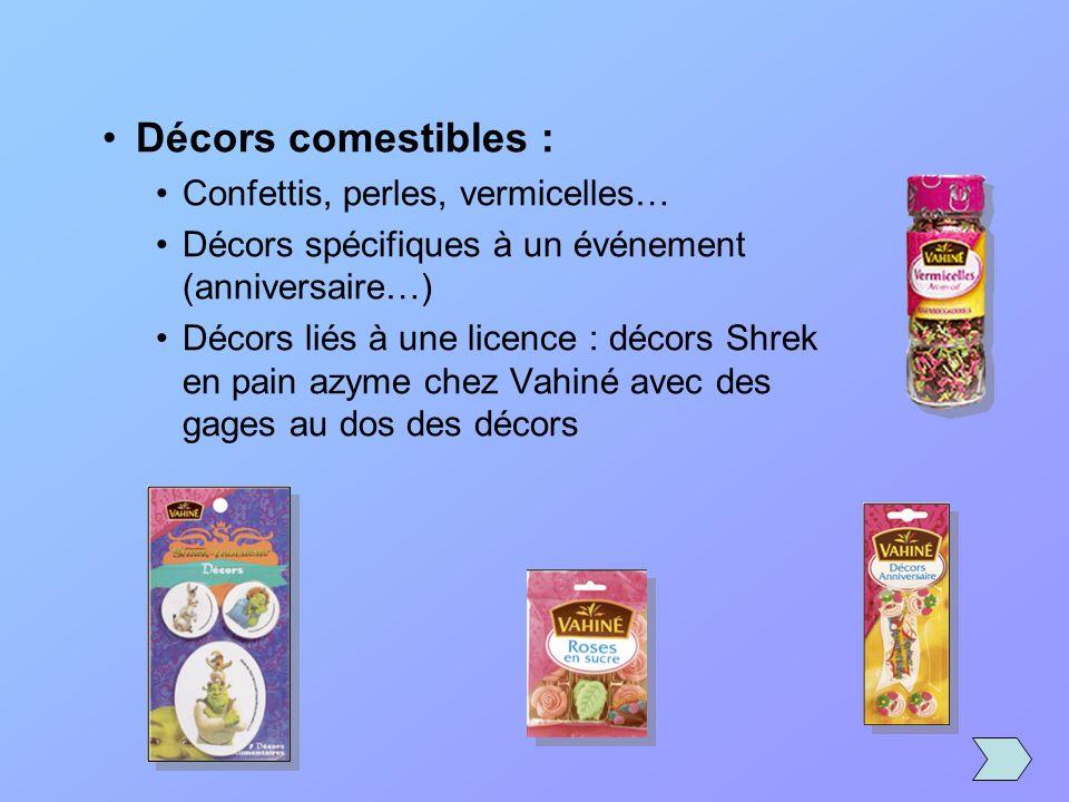 Décors comestibles : Confettis, perles, vermicelles… Décors spécifiques à un événement (anniversaire…) Décors liés à une licence : décors Shrek en pai