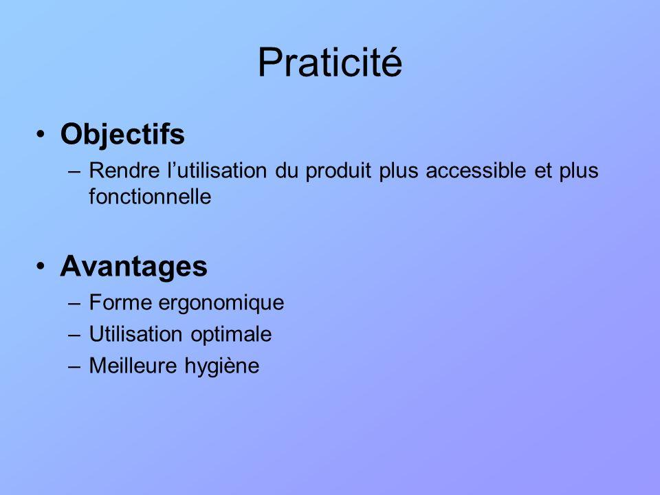 Objectifs –Rendre lutilisation du produit plus accessible et plus fonctionnelle Avantages –Forme ergonomique –Utilisation optimale –Meilleure hygiène