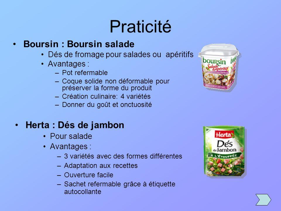 Boursin : Boursin salade Dés de fromage pour salades ou apéritifs Avantages : –Pot refermable –Coque solide non déformable pour préserver la forme du